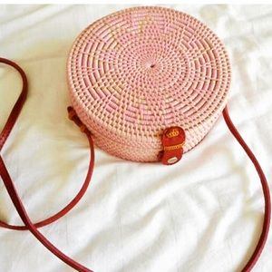 Pink Haley Bags - 🆕Ata Reed Handbag #Straw With Leather Straps